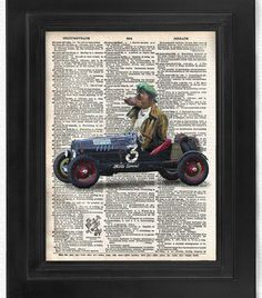 Italian Greyhound in Racecar on Antique Dictionary Page, Dog Art Print, Wall Decor, Wall Art Mixed Media Collage Buy2get1free