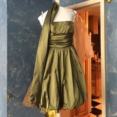 Olive Green David'S Bridal Dress