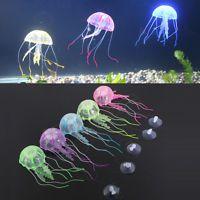 "5 1/2"" Glowing Effect Jellyfish Aquarium Fish Tank Ornament Swim Pool Bath Decor"