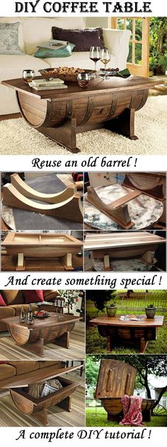 table out of an old barrell Amazing Coffee Table made from an old barrel! Create a unique piece of furniture with this simple DIY tutorial!Amazing Coffee Table made from an old barrel! Create a unique piece of furniture with this simple DIY tutorial! Wine Barrel Coffee Table, Unique Coffee Table, Rustic Coffee Tables, Diy Coffee Table, Diy Table, Coffee Coffee, Barrel Table Diy, Cofee Tables, Easy Coffee