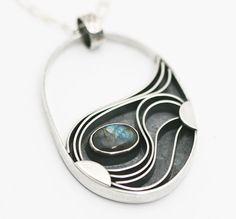 "Labradorite Sterling Silver ""Mystic"" Necklace - Sculptural Design Big Bold Swirl Pattern Statement Piece Art Jewelry"