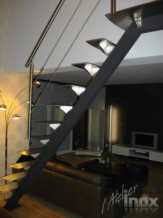 escalier mono limon inox