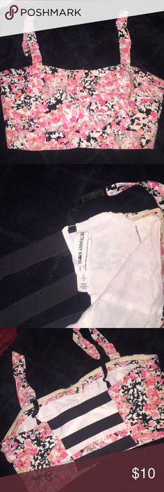 Flowery cropped top Pink and black bethany mota Tops Crop Tops