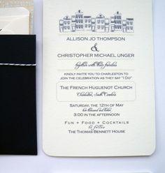 Navy Chevron Wedding Invitation