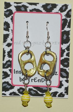 Lemon Yellow Upcycled Pop Tab Earrings by InspiredDesignzbyJK