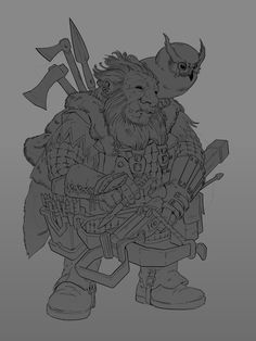 Dwarf Ranger, Maciej Rudnicki on ArtStation at https://www.artstation.com/artwork/VRbd8