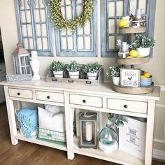Hasil gambar untuk farmhouse entryway table ideas
