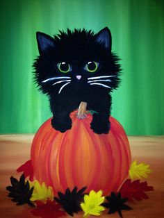 Join us for a Paint Nite event Wed Sep 2015 at 329 Castle Shannon Blvd Mt. Purchase your tickets online to reserve a fun night out! Halloween Canvas Paintings, Fall Canvas Painting, Halloween Drawings, Halloween Painting, Autumn Painting, Autumn Art, Halloween Art, Canvas Art, Black Cat Art