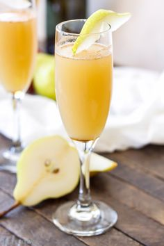 Cinnamon Pear Mimosas are the perfect drink to make this fall! Serve them with brunch or with your holiday dinner, they're so easy to make!