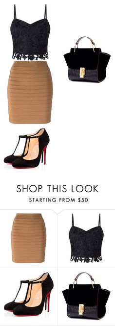 """""""black/brown"""" by zoellabae on Polyvore featuring Balmain, Lipsy, Christian Louboutin and outfitoftheday"""