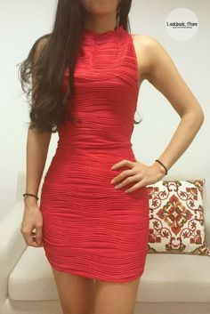Get this red high neck bodycon dress and wear it with your favorite heels and red lippies. Shop here.
