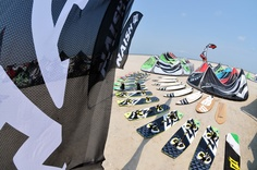 Naish Kiteboarding demo set up on South Padre Island, Texas