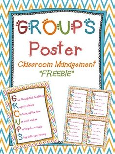 GROUPS Acronym Poster Freebie.  I decided to post this freebie after the anchor chart from my blog was pinned thousands of times. I wanted to be able to provide teachers with a resource they could print out and use right away if they wanted to implement this classroom management idea! Group Counseling, Counseling Activities, Educational Activities, Classroom Behavior, School Classroom, Future Classroom, Classroom Decor, Teacher Tools, Teacher Resources