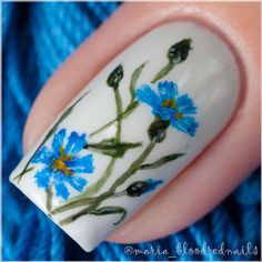 Floral Nail Art With Blue Cornflowers.