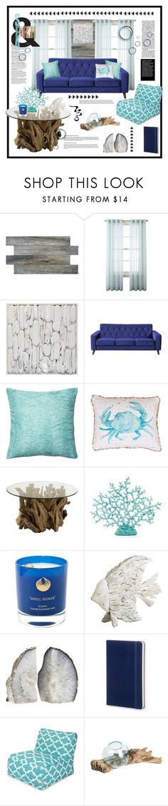 """""""Shorelines & Driftwood"""" by cara-mia-mon-cher ❤ liked on Polyvore featuring interior, interiors, interior design, home, home decor, interior decorating, SomerTile, Royal Velvet, Loloi Rugs and Thro"""