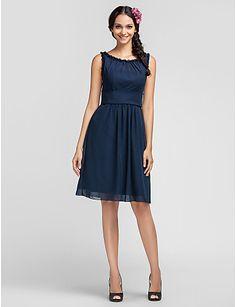 Sheath/Column Scoop Knee-length Chiffon Bridesmaid Dress - USD $ 79.19