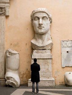Head of Constantine (Roman Emperor), Rome, Italy Ancient Rome, Ancient Art, Rome Florence, Statues, Constantino, Roman Holiday, Belle Villa, Roman Art, Visit Italy