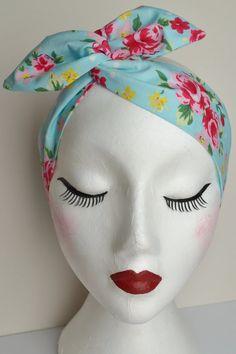 Rockabilly Pin Up Aqua Blue Rose Floral Print Wire Headband