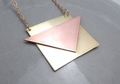 Geometric Triangle Necklace Brass Necklace Geometric Jewelry Mixed Metal Jewelry more via Naturametallum on etsy..amazing