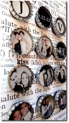 Fridge magnets made out of bottle caps + Mod Podging photos onto them.
