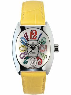 Montres De Luxe Women's CP3 AC QZ BIA Capri Multicolored Stainless Steel Luminous Shiny Yellow Leather Date Watch Montres De Luxe. $380.00. Date window at position 6. Water-resistant to 30 M (99 feet). Luminous hour hands; case diameter- 30x36; made in italy. Second hand feature. Polished stainless steel case. Save 20% Off!