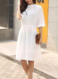 Dress - $12.54 - Solid Half Sleeve Knee-Length A-line Dress (1955130446)