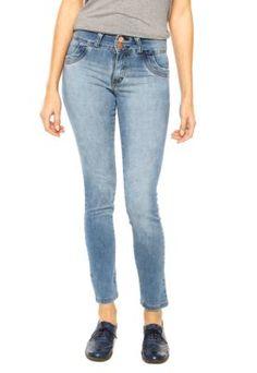 47e0e35da Calça Jeans Disparate Slim Puídos Azul Calça Jeans Reta Feminina, Calça  Reta Feminina, Calças