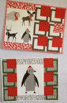 This layout is not in the pattern. You can see a step out of what we did in Idea #7 BQ Goes Mini Placemats: a New Look. The fun animals are printed fabric, not applique and were cut from a panel. Merrily by Gingiber for Moda.