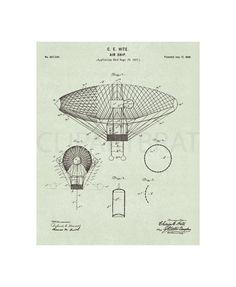 VINTAGE AIRSHIP 1897 Patent Print Intsant Download by ClipArtBrat