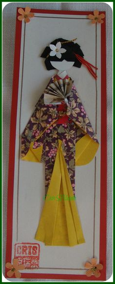 handmade greeting card ... geisha del sol ... tall and narrow ...