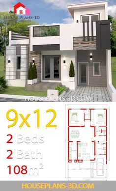 House Design with 2 Bedrooms full plans – House Plans – House Design Ideas Model House Plan, Small House Plans, House Floor Plans, 20x30 House Plans, Indian House Plans, House Design Pictures, Modern Bungalow House, Architectural House Plans, Simple House Design