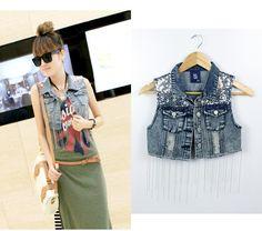Da vuelta abajo Ssy diseño corto de mezclilla ropa cadena moldeada mujeres chaqueta corta delgada superior pequeño chaleco 9459(China (Mainland))
