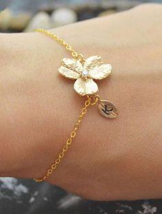 Delicate Lotus Blossom Initial Bracelet // L.O.V.E.