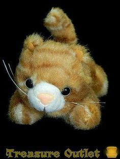 Artistic Toy Stuffed Plush Beanie Orange White Tabby Kitty Cat Kitten 6in