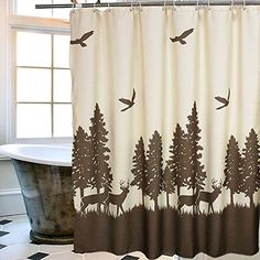This #Uphome deer in forest shower curtain combines the elegance of an updated deer motif with a fashionable beige and coffrr color palette. This Uphome Polyest...