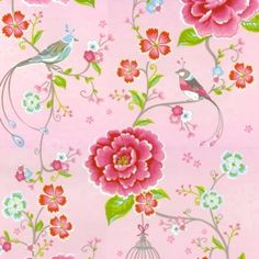 Tapete Birds in Paradise rosa