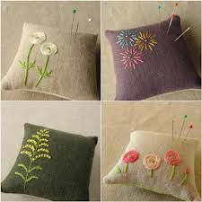hand embroidered pin cushions