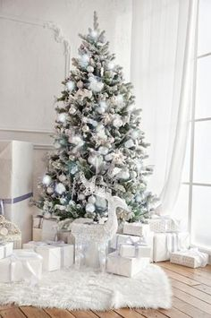 4664 White Christmas Tree Fireplace Indoor Window Interior Backdrop – Backdrop Outlet