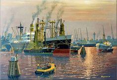 Werk van Frits Hoogstrate. ss Averdijk - Rijnhaven - Rotterdam jaren zestig