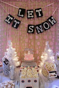 Sweets Table Backdrop | Pink Winter Onederland Birthday Party by Pastiche Events