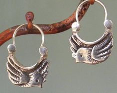 tiny dove earrings - hoop style - sterling silver