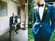 love the groom in his blue suit