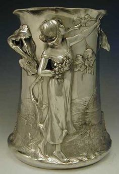 Polished pewter champagne bucket with figural Art Nouveau maiden, Germany, 1906 Design Art Nouveau, Jugendstil Design, Art Ancien, Champagne Buckets, Bronze, Name Art, In Vino Veritas, Vases, Belle Epoque