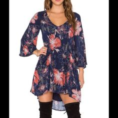 Free People Eyes on You Printed Mini Dress Size: 8. Color: Navy combo. Free People Dresses Mini