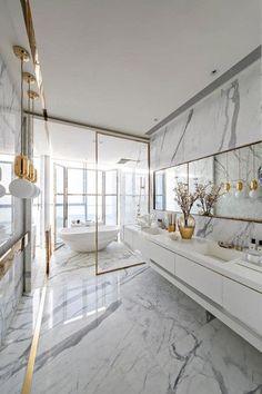 Bathroom Interior Design, Modern Interior Design, Interior Architecture, Marble Interior, Gold Interior, White House Interior, Staircase Architecture, Industrial Architecture, Church Interior
