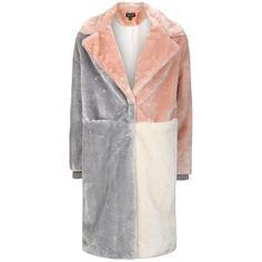 Topshop Patchwork Faux Fur Coat ($135) ❤ liked on Polyvore featuring outerwear, coats, jackets, topshop, imitation fur coats, colorblock coat, longline coat, color block coat and fake fur coats