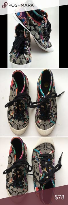 Women's Coach rainbow sneakers Women's Coach rainbow sneakers are super comfortable and designed with the colors of the rainbow. Shoes have black laces and white tips. In good condition! Bundle to save! Coach Shoes Sneakers