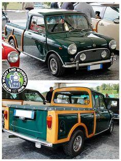 Morris Mini Ute converted to a Woodie. Mini Countryman, Mini Clubman, Classic Mini, Classic Cars, Mini Morris, Mini Copper, Morris Minor, Mini Trucks, Smart Car