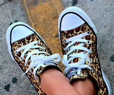 Leopard print white laces and front sneakers