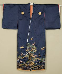 Japanese Child's Kimono  Late Edo period. First half, 19th century.    Silk satin with silk embroidery and gold couching